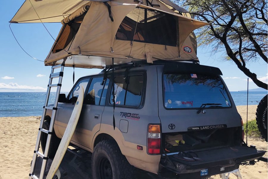 4X4 landcruiser with Rooftop-tent and allCamping equipment